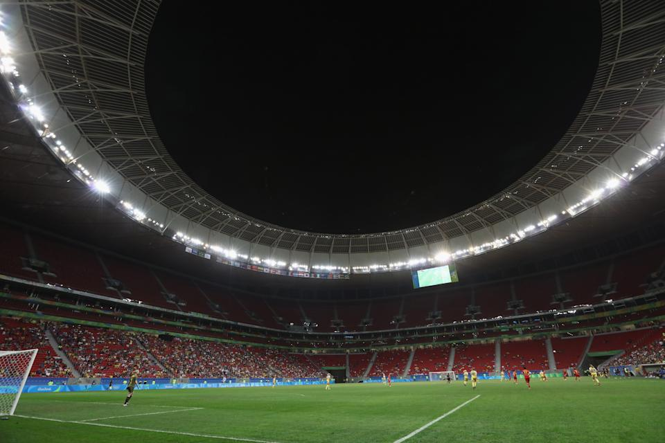 BRASILIA, BRAZIL - AUGUST 09: General view of the Mane Garrincha Stadium during the Women's First Round Group E match between China PR and Sweden on Day 4 of the Rio 2016 Olympic Games at Mane Garrincha Stadium on August 9, 2016 in Brasilia, Brazil. (Photo by Steve Bardens-FIFA/FIFA via Getty Images)