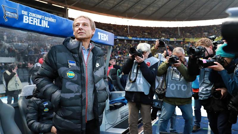 Juergen Klinsmann's first game in charge of Hertha Berlin was a loss to Borussia Dortmund