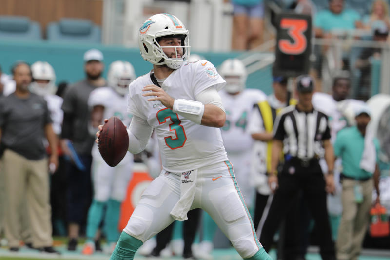 Miami Dolphins quarterback Josh Rosen (3) looks to pass, during the first half at an NFL football game against the Los Angeles Chargers, Sunday, Sept. 29, 2019, in Miami Gardens, Fla. AP Photo/Lynne Sladky)