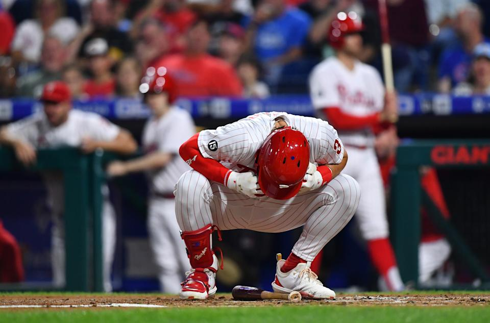 Philadelphia Phillies right fielder Bryce Harper (3) reacts after striking out against the Cubs. (Photo by Kyle Ross/Icon Sportswire via Getty Images)