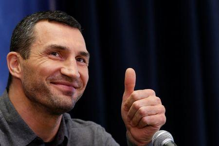 Boxer Wladimir Klitschko attends a news conference at Madison Square Garden in New York