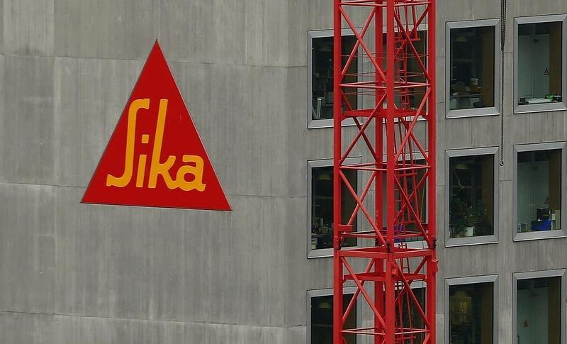 The company's logo of Swiss chemicals group Sika is seen at an office building in Zurich