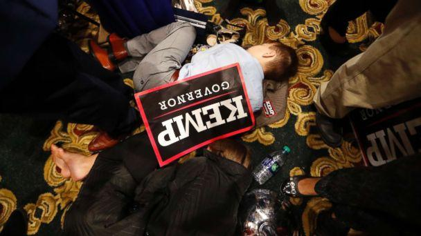 PHOTO: William Barrow, 8, of Griffin, Ga., sleeps early Wednesday morning, Nov. 7, 2018, during an election night party for Georgia Republican gubernatorial candidate Brian Kemp, in Athens Ga. (John Bazemore/AP)