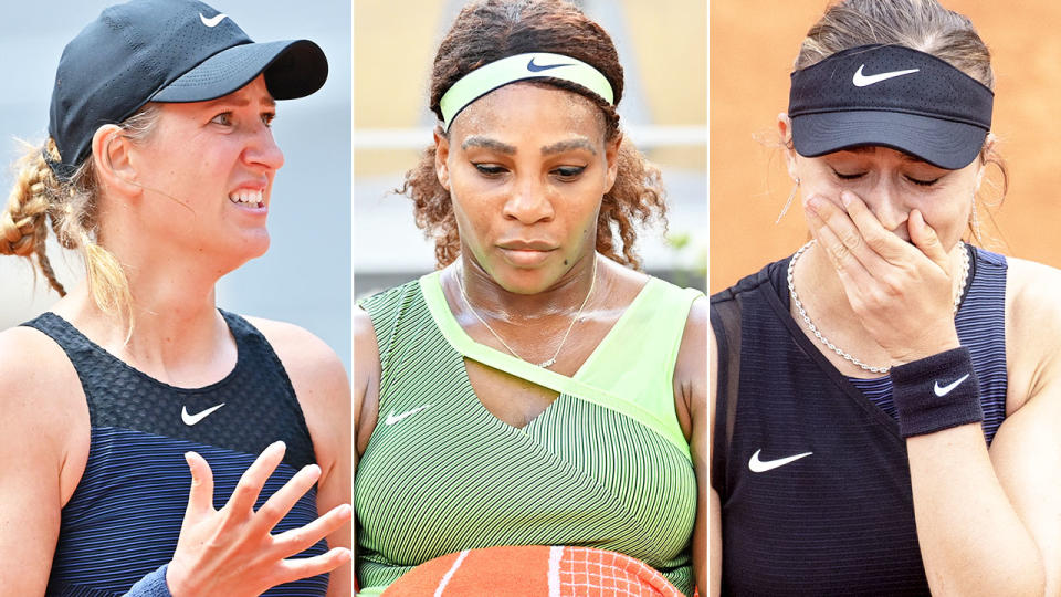 Victoria Azarenka, Serena Williams and Paula Badosa, pictured here in action at the French Open.