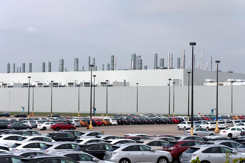 Cambridge, Ontario Canada - September 23, 2010: A view of the Toyota Motor Manufacturing Canada automotive assembly plant in Cambridge Ontario. Opened in 1988, the plant produces 500,000 vehicles annually.