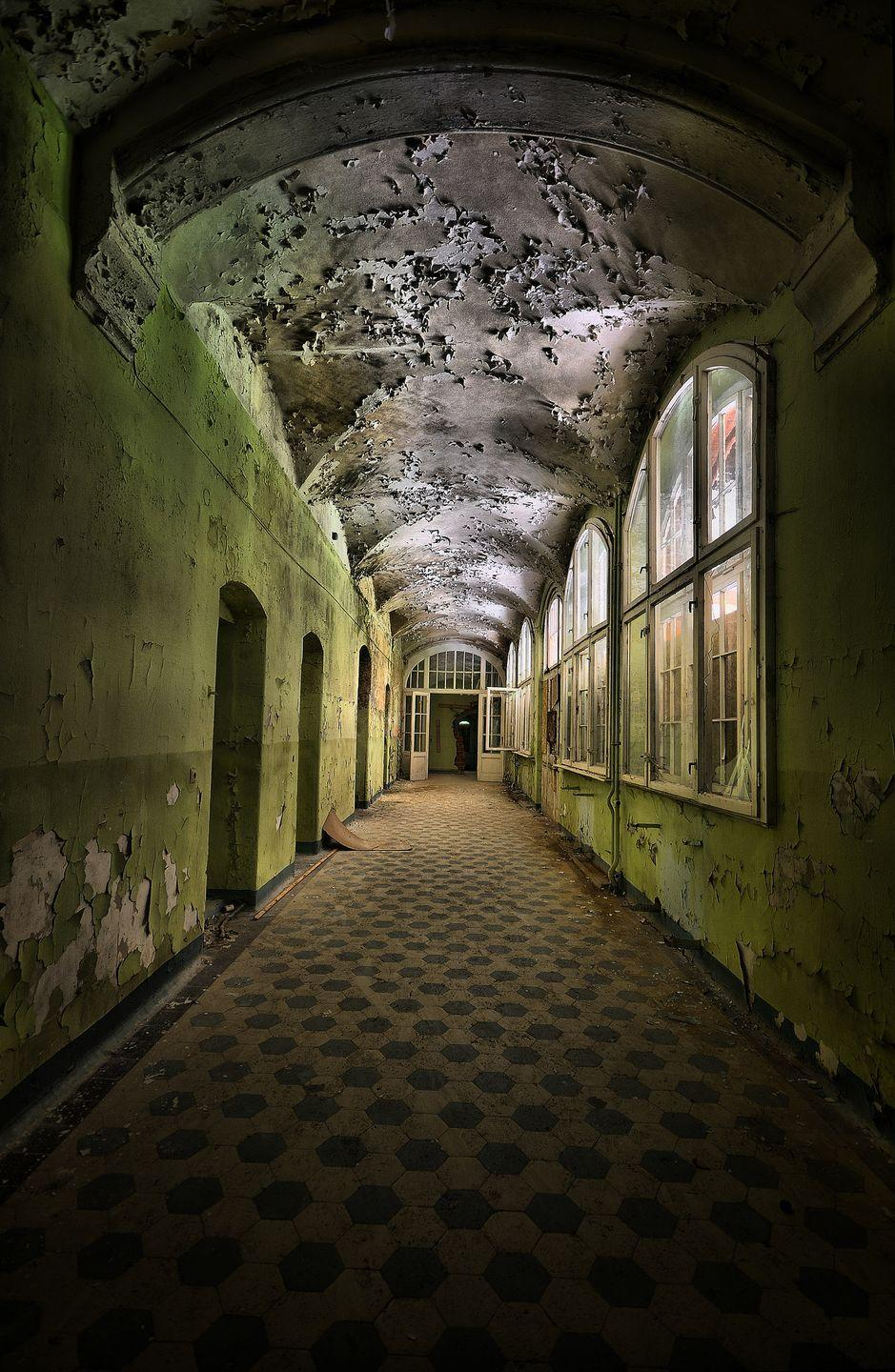 <p>Moss engulfs the decaying walls of this empty sanatorium in Germany.</p>