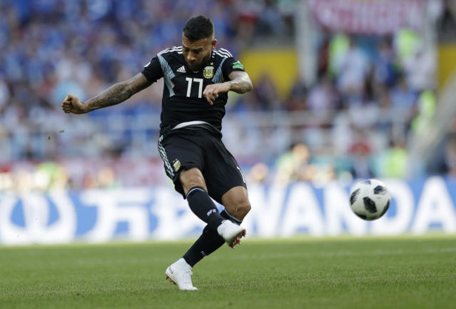 <p>Argentina's Nicolas Otamendi gets an attacking going in Moscow </p>