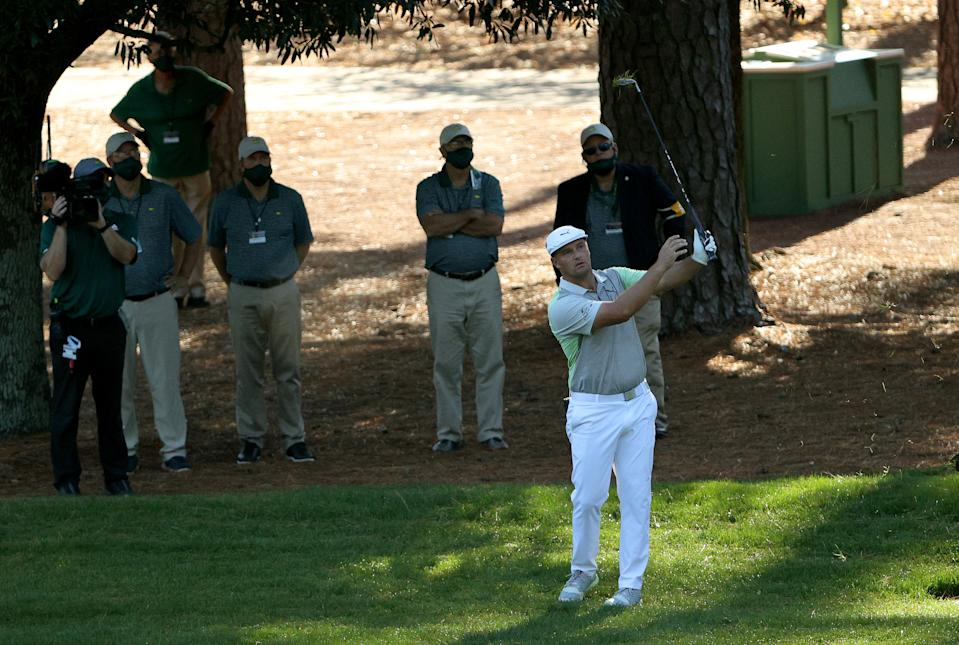 Bryson DeChambeau plays a shot on the third hole during the second round of the Masters at Augusta National Golf Club on November 13, 2020 in Augusta, Georgia.