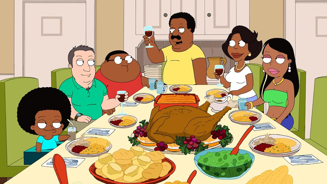"""<p>A spinoff of <strong>Family Guy</strong>, <strong>The Cleveland Show</strong> centers on Cleveland Brown's dysfunctional family, including his new wife, Donna Tubbs, her two children, and Brown's biological son, Cleveland Jr. </p> <p>The series aired for four seasons and features a voice cast of Mike Henry, Sanaa Lathan, Reagan Gomez-Preston (<strong>The Parent 'Hood</strong>), Kevin Michael Richardson, Jason Sudeikis, and Seth MacFarlane. The show came to an end in 2013 with the characters returning to the fictional universe of <strong>Family Guy</strong>.</p> <p><strong>Where to watch:</strong> <a href=""""https://www.popsugar.com/buy?url=https%3A%2F%2Fwww.amazon.com%2FThe-Cleveland-Show-Sneak-Peek%2Fdp%2FB002QGFYP2%2Fref%3Dsr_1_1%3Fs%3Dinstant-video%26ie%3DUTF8%26qid%3D1487725878%26sr%3D1-1%26keywords%3Dcleveland%2Bshow&p_name=Amazon&retailer=amazon.com&evar1=buzz%3Aus&evar9=43179419&evar98=https%3A%2F%2Fwww.popsugar.com%2Fentertainment%2Fphoto-gallery%2F43179419%2Fimage%2F43179421%2FCleveland-Show&list1=tv%2Cthanksgiving%2Cdinner%2Cblack%20history%20month&prop13=api&pdata=1"""" rel=""""nofollow"""" data-shoppable-link=""""1"""" target=""""_blank"""" class=""""ga-track"""" data-ga-category=""""Related"""" data-ga-label=""""https://www.amazon.com/The-Cleveland-Show-Sneak-Peek/dp/B002QGFYP2/ref=sr_1_1?s=instant-video&amp;ie=UTF8&amp;qid=1487725878&amp;sr=1-1&amp;keywords=cleveland+show"""" data-ga-action=""""In-Line Links"""">Amazon</a>, <a href=""""https://itunes.apple.com/us/tv-season/the-cleveland-show-season-1/id327597094"""" target=""""_blank"""" class=""""ga-track"""" data-ga-category=""""Related"""" data-ga-label=""""https://itunes.apple.com/us/tv-season/the-cleveland-show-season-1/id327597094"""" data-ga-action=""""In-Line Links"""">iTunes</a></p>"""