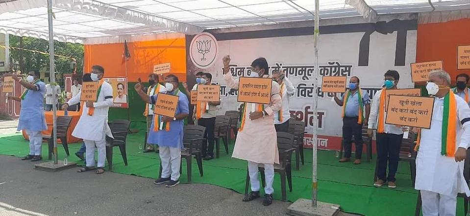 """<div class=""""paragraphs""""><p>BJP protest in Rajasthan.</p></div>"""