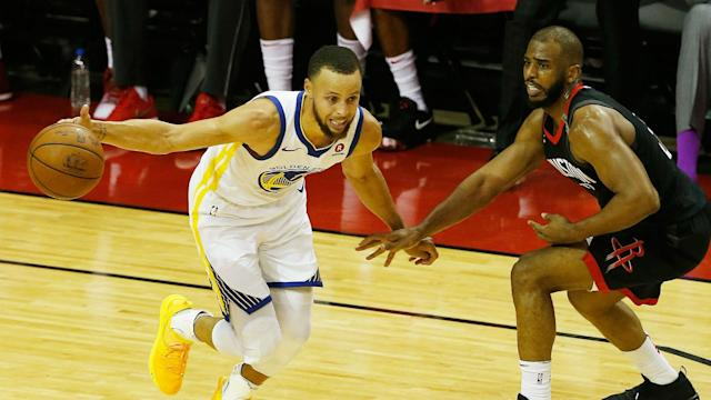 After driving for a layup, Paul collided with Warriors guard Quinn Cook and came up grabbing his right hamstring.