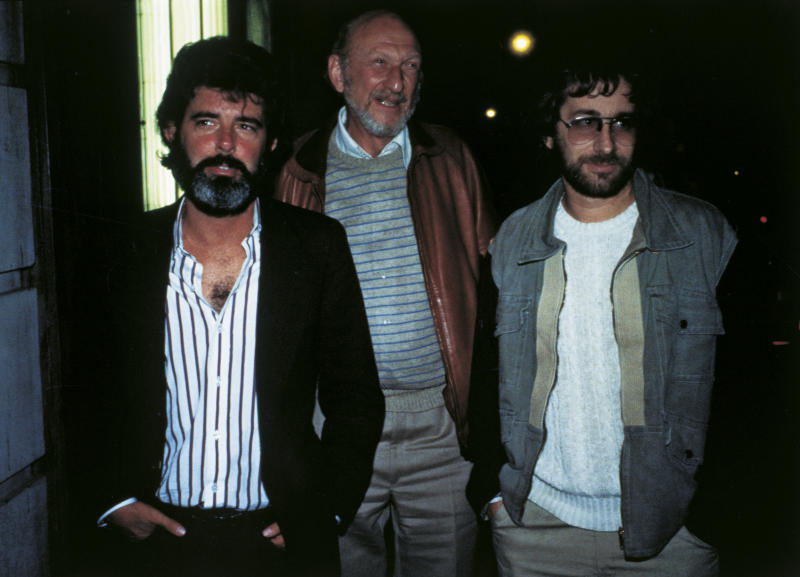 Portrait of American directors George Lucas, Irvin Kershner and Steven Spielberg. 1980s (Photo by Mondadori via Getty Images)