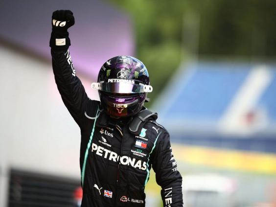 Lewis Hamilton celebrates winning the Styrian Grand Prix (Getty)