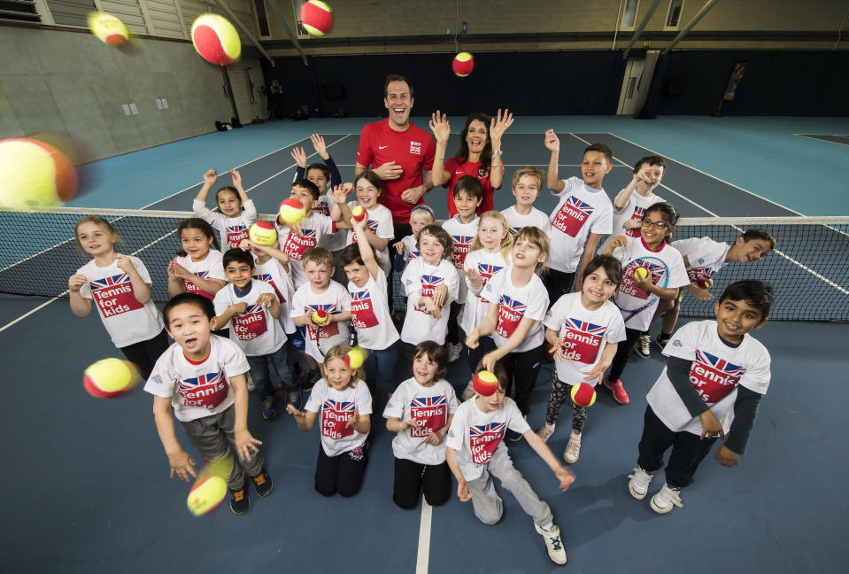 Greg Rusedski and Annabel Croft help out with Tennis for Kids