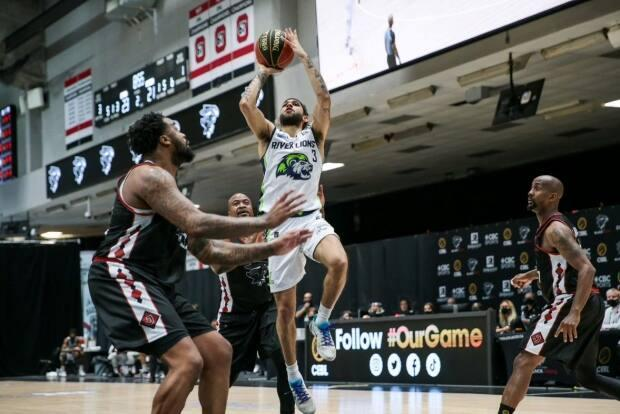 Niagara River Lions guard Kassius Robertson (3) contributed 21 points in Niagara's 103-78 victory over the Ottawa BlackJacks Thursday. (Courtesy of CEBL - image credit)