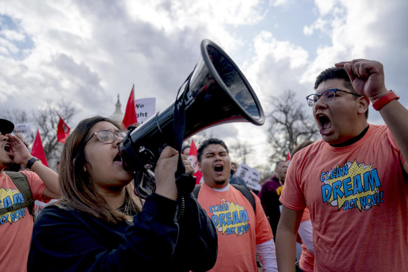 Immigration activists hold a rally on Capitol Hill