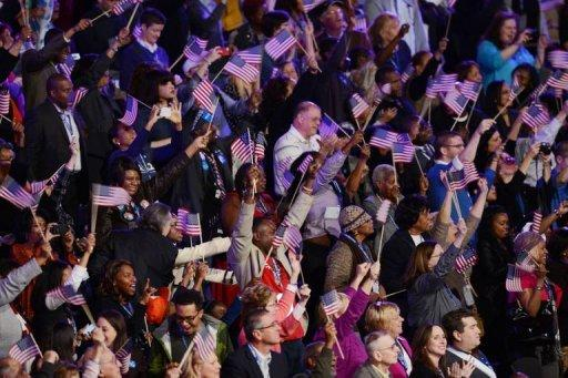 Supporters of US President Barack Obama cheer results on election night in Chicago, Illinois