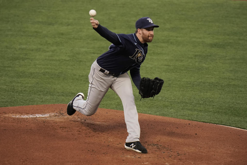 Tampa Bay Rays starting pitcher Collin McHugh throws to a Los Angeles Angels batter during the first inning of a baseball game Thursday, May 6, 2021, in Anaheim, Calif. (AP Photo/Jae C. Hong)