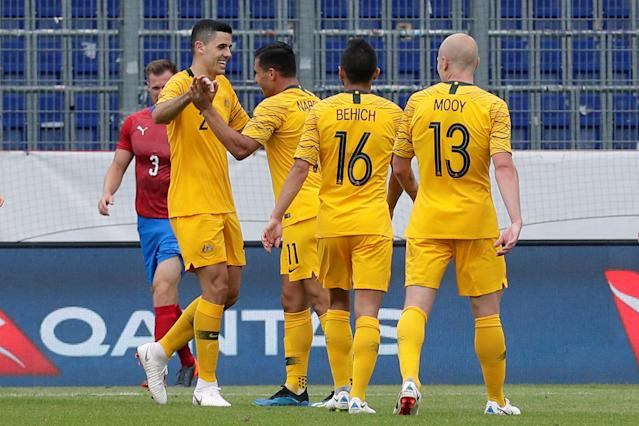 Soccer Football - International Friendly - Czech Republic v Australia - NV Arena, Sankt Polten, Austria - June 1, 2018 Australia's Andrew Nabbout celebrates with team mates after scoring their second goal REUTERS/Heinz-Peter Bader