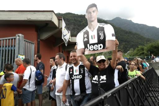 Juventus fans waited to get their first glimpse of Cristiano Ronaldo in the flesh at Villar Perosa, on August 12, 2018