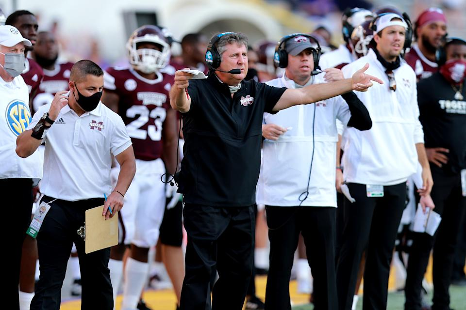 BATON ROUGE, LOUISIANA - SEPTEMBER 26: Head coach Mike Leach of the Mississippi State Bulldogs react to a call during a NCAA football game against the LSU Tigers at Tiger Stadium on September 26, 2020 in Baton Rouge, Louisiana. (Photo by Sean Gardner/Getty Images)
