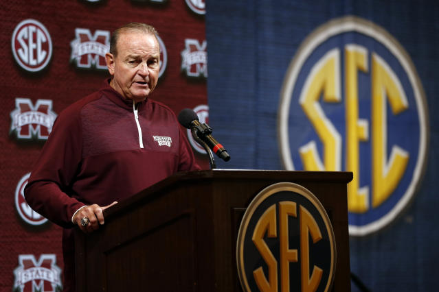 Mississippi State head coach Vic Schaefer speaks during the Southeastern Conference NCAA college basketball media day, Thursday, Oct. 17, 2019, in Birmingham, Ala. (AP Photo/Butch Dill)