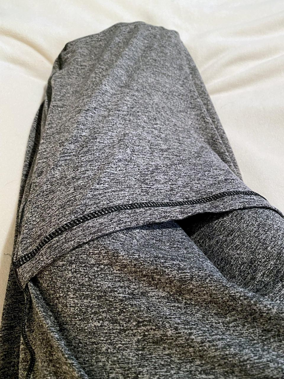 <p>The fabric of the Hug Sleep Pod Move is similar to super soft, stretchy, and lightweight workout pants. I love that it's machine-washable. It feels like the most comfortable pair of leggings, but it's more like one big leg for your entire body.</p>