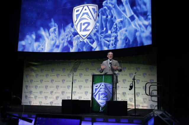 Pac-12 Conference commissioner Larry Scott announced changes to the league's officiating process on Wednesday. (AP Photo/Marcio Jose Sanchez)