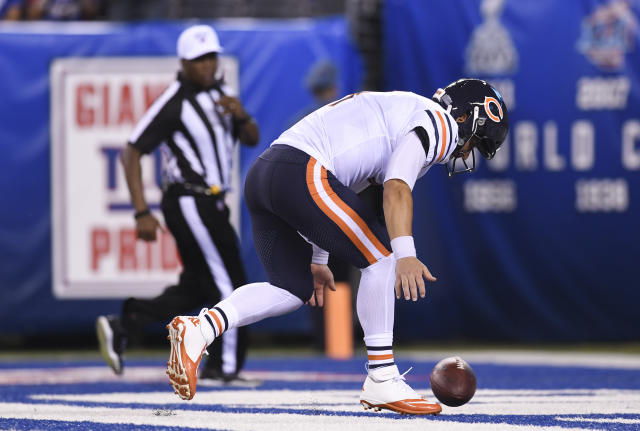 Chicago Bears quarterback Chase Daniel (4) fumbles the ball in the end zone against the New York Giants during the second quarter of a preseason NFL football game, Friday, Aug. 16, 2019, in East Rutherford, N.J. (AP Photo/Sarah Stier)