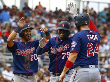 Mar 13, 2019; Fort Myers, FL, USA; Minnesota Twins catcher Brian Navarreto (79) celebrates with left fielder Eddie Rosario (20) and first baseman C.J. Cron (24) after a three run home run during the sixth inning at JetBlue Park. Mandatory Credit: Butch Dill-USA TODAY Sports
