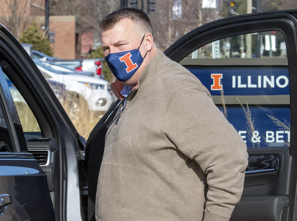 FILE - In this Dec. 20, 2020, file photo, Illinois' new football coach Bret Bielema and his family were introduced to the media outside the Smith Center on UI campus in Champaign, Ill. on Sunday, Dec. 20 , 2020. Bielema saw a unique opportunity to accelerate a turnaround at Illinois when he returned to college football as head coach of the Illini in December. (Robin Scholz/The News-Gazette via AP, File)