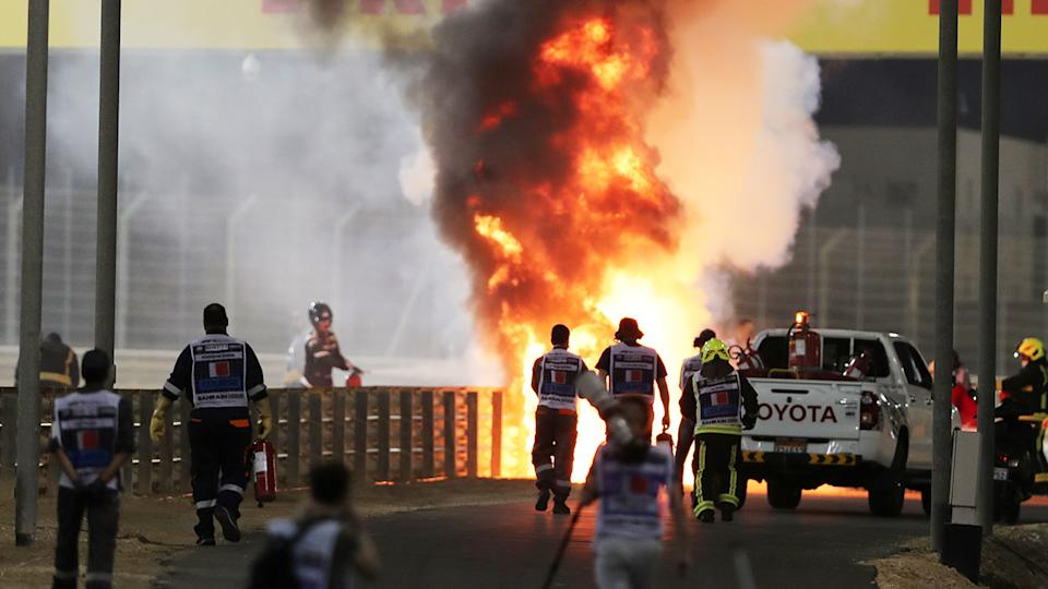 Romain Grosjean's car, pictured here in flames after he crashed at the Bahrain Grand Prix.