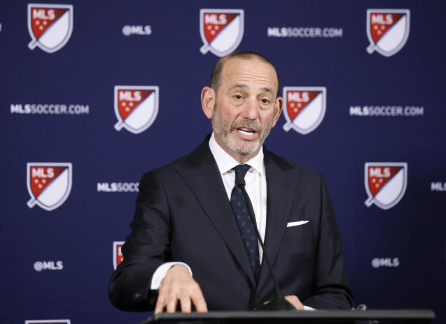 Major League Soccer Commissioner Don Garber discusses at a news conference plans to expand the league to 30 teams during the MLS Board of Governors meeting in Los Angeles, Thursday, April 18, 2019. Sacramento and St. Louis have been invited to submit formal bids for franchises. (AP Photo/Alex Gallardo)