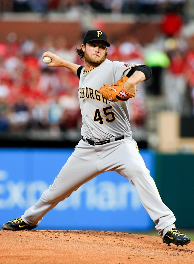 Pittsburgh Pirates starting pitcher Gerrit Cole throws during the first inning of a baseball game against against the St. Louis Cardinals, Friday, April 25, 2014, in St. Louis. (AP Photo/Scott Kane)