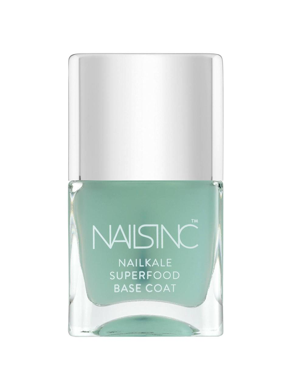 """<h3>Nails Inc. Nailkale Superfood Base Coat<br></h3><br>This base coat — infused with keratin, aloe, vitamin E, and, of course, kale extract — is a $15 investment in hard, glossy nails for however long it takes you to drain the bottle. There's a reason the Sephora landing page has more than 230 glowing reviews.<br><br><strong>Nails Inc.</strong> Nailkale Superfood Base Coat, $, available at <a href=""""https://go.skimresources.com/?id=30283X879131&url=https%3A%2F%2Fwww.sephora.com%2Fproduct%2Fnailkale-superfood-base-coat-P388616"""" rel=""""nofollow noopener"""" target=""""_blank"""" data-ylk=""""slk:Sephora"""" class=""""link rapid-noclick-resp"""">Sephora</a>"""