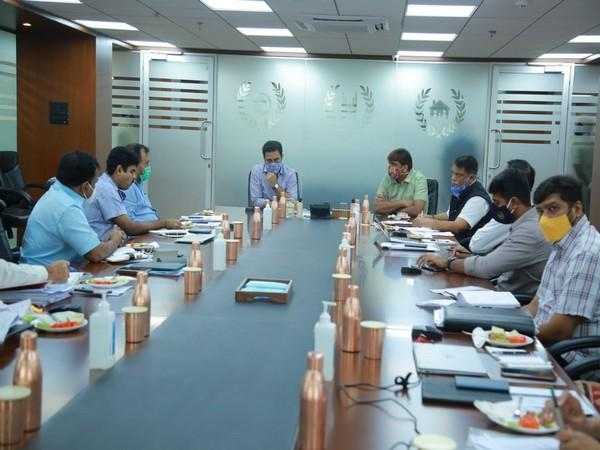 Telangana Municipal Administration and Urban Development Minister KT Rama Rao during a review meeting in Hyderabad on Monday.