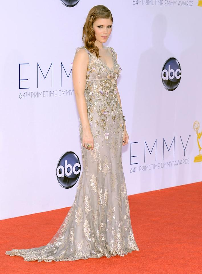 Kate Mara arrives at the 64th Primetime Emmy Awards at the Nokia Theatre in Los Angeles on September 23, 2012.
