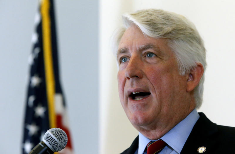 FILE - In this Oct. 24, 2018 file photo, Virginia Attorney General Mark Herring announces a new Clergy Abuse Hotline his office is launching as he addressed a press conference at his office in Richmond, Va. Herring admitted to wearing blackface decades ago. In a statement issued Wednesday, Feb. 6, 2019, Herring said he wore brown makeup and a wig in 1980 to look like a black rapper during a party as an undergraduate at the University of Virginia. (Bob Brown/Richmond Times-Dispatch via AP, File)