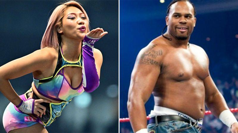 Hana Kimura and Shad Gaspard, pictured here in Japan and WWE.