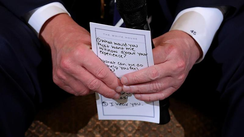 Trump's Notes for Listening Session With Shooting Survivors Remind Him to Say 'I Hear You'