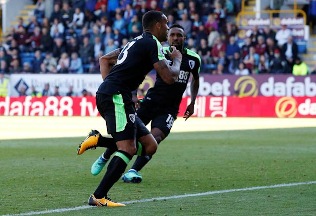 "Soccer Football - Premier League - Burnley vs AFC Bournemouth - Turf Moor, Burnley, Britain - May 13, 2018 Bournemouth's Callum Wilson celebrates scoring their second goal Action Images via Reuters/Craig Brough EDITORIAL USE ONLY. No use with unauthorized audio, video, data, fixture lists, club/league logos or ""live"" services. Online in-match use limited to 75 images, no video emulation. No use in betting, games or single club/league/player publications. Please contact your account representative for further details."