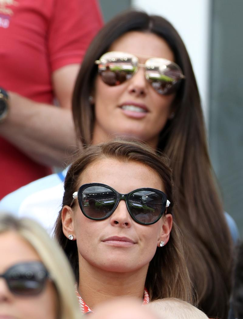 Coleen Rooney and Rebekah Vardy (top) wife of England's Jamie Vardy in the stands during the UEFA Euro 2016, Group B match at the Stade Felix Bollaert-Delelis, Lens.
