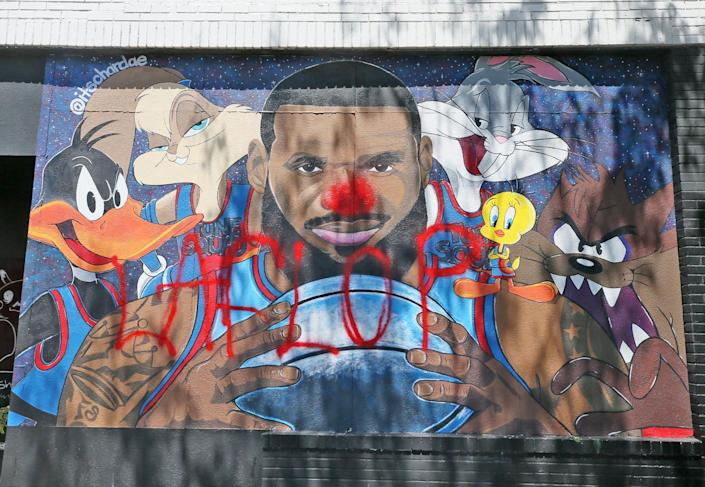 The LeBron James Space Jam mural on West Market and North Valley Street was defaced by vandal who painted a red nose on the face of LeBron and the words La Flop across the mural.