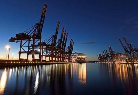 FILE PHOTO: A container ship is seen at the shipping terminal Eurokai in the Port of Hamburg