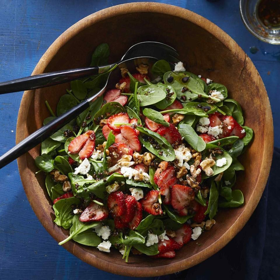 <p>Sweet strawberries, salty feta and crunchy walnuts jazz up a simple spinach salad. The balsamic vinaigrette is incredibly easy; fresh shallots add more zip than you'll find in any commercial dressing.</p>