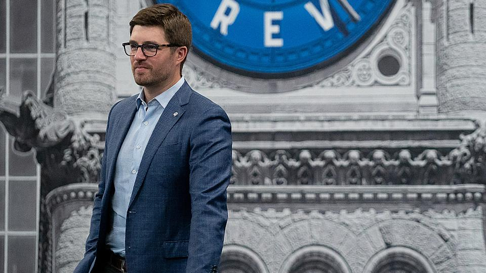 TORONTO, ONTARIO, CANADA - JULY 24: General Manager Kyle Dubas of the Toronto Maple Leafs attends rounds 2-7 of the 2021 NHL Entry Draft at OVO Athletic Centre on July 24, 2021 in Toronto, Ontario, Canada. (Photo by Alana Davidson/NHLI via Getty Images)