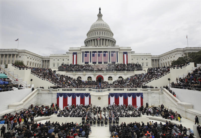FILE- In this Jan. 20, 2017, file photo, President Donald Trump gives his inaugural address after being sworn in as the 45th president of the United States during the 58th Presidential Inauguration at the U.S. Capitol in Washington. Big money from billionaires, corporations and a roster of NFL owners poured into Donald Trump's inaugural committee in record-shattering amounts, to pull off an event that turned out considerably lower-key than previous inaugural celebrations. (AP Photo/Patrick Semansky, File)