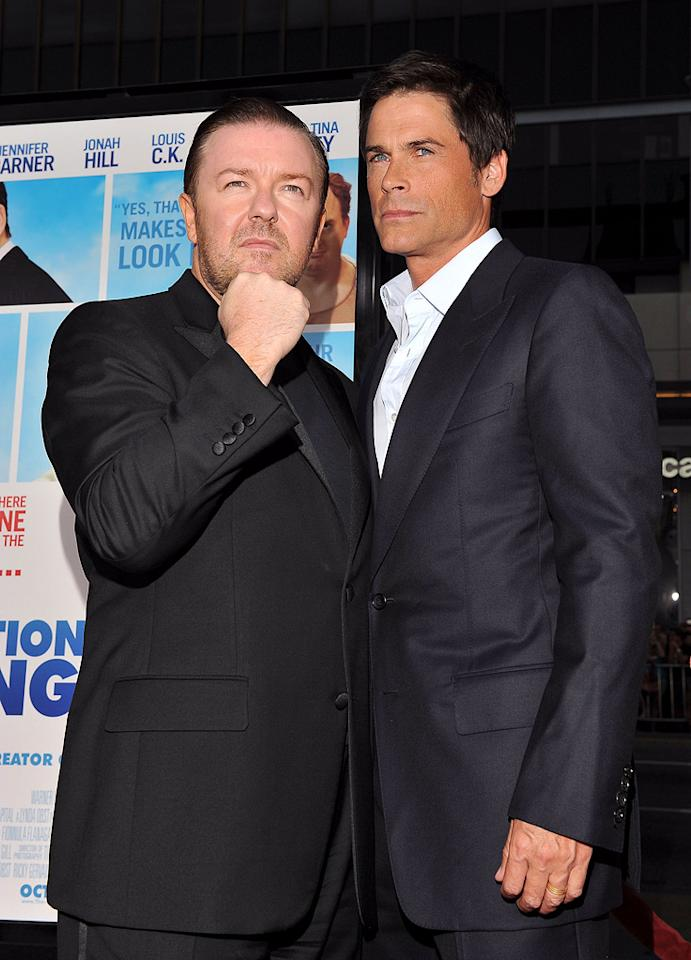 """<a href=""""http://movies.yahoo.com/movie/contributor/1808438269"""">Ricky Gervais</a> and <a href=""""http://movies.yahoo.com/movie/contributor/1800012194"""">Rob Lowe</a> at the Los Angeles premiere of <a href=""""http://movies.yahoo.com/movie/1810022054/info"""">The Invention of Lying</a> - 09/21/2009"""