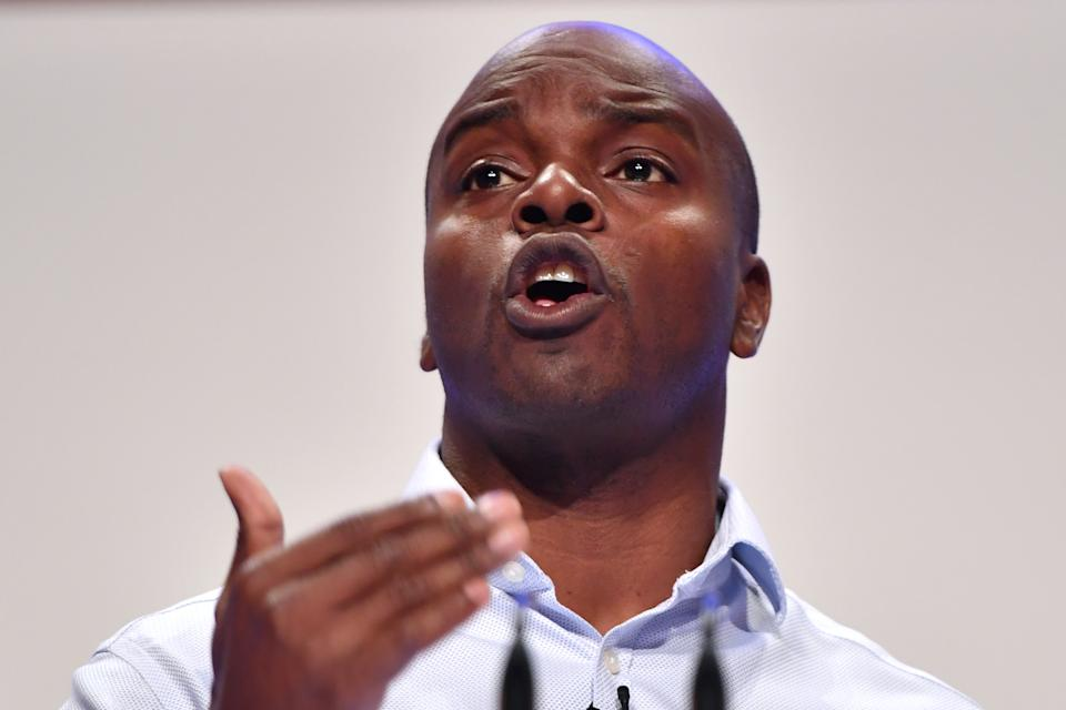 BIRMINGHAM, ENGLAND - OCTOBER 03:  Conservative London Mayoral candidate Shaun Bailey speaks during the Conservative Party Conference on October 3, 2018 in Birmingham, England.  (Photo by Anthony Devlin/Getty Images)