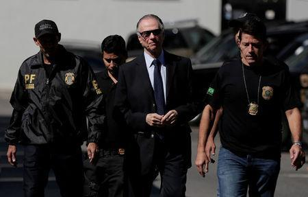 Brazilian Olympic Committee (COB) President Carlos Arthur Nuzman arrives to Federal Police headquarters in Rio de Janeiro, Brazil October 5, 2017. REUTERS/Bruno Kelly